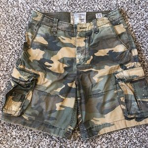 Men's Abercrombie and Fitch denim cargo shorts.